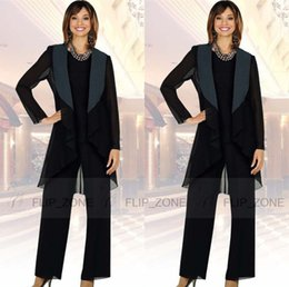 Wholesale Chiffon Pants Suits - Black Long Jacket 2015 Mother of the Bride Pant Suits with Long Sleeve Plus Size Three-Piece Mother's Formal Wear Evening Groom Gowns Cheap