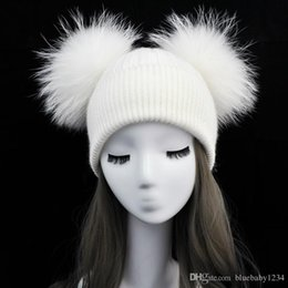 Wholesale Double Ball Wool Cap - Women Winter Fashion Fur Pompom Hat for Girls Crochet Beanie Hats for Adults Knitted Wool Double Two Pompon Fur Hat