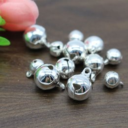 Wholesale Metal Copper Jingle Bells - 8 10 12mm Silver Plated Jingle Bell Small Bells Excellent quality Copper Metal Fit Festival Jewelry Pendants Charm Beads