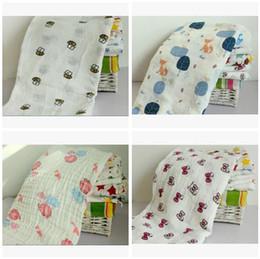 Wholesale Robe Child - Baby Blankets Fox Muslin Cotton Flamingo Bee Swaddles Newborn Wrap Gauze Children Blankets Infant Bath Towel Christmas Gift Free Shipping