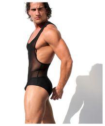 Wholesale tank top jumpsuits - Sexy Teddies Bodysuit Body Stocking Sex Man Jumpsuit Wresting Undershirts Clothes Gay Clothing Exotic Shirt Club Underwear Mesh Tank Top Set