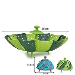 Wholesale Steamer Cook - Fruit Basket Kitche Cook Tool Silicone Foldable Vegetable Steamer Heat Resisting For Multi Color 6 8yj C R