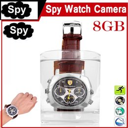 Wholesale Spy Watch Camera 8gb - Newest fashion waterproof Spy Watch Hidden Pinhole Camera 720*480 8GB Wrist Watch DVR Sport Watch Camera