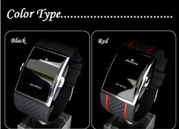 Wholesale Rubber Rectangle - New arrival -- Wristwatch Luxury Date Digital Sport Led Mens-Watches With Red Light