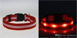 Wholesale High Quality Leather Dog Harness - 30% off Newest LED Flashing Dog Harness Pet Harness Dog Collar and High quality nylon weave Pet Cat Dog Tether Safety Light Collars 521