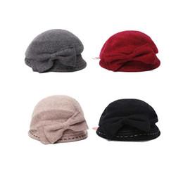 Grandi cappelli eleganti online-Cappello di lana moda cappello invernale con grande fiocco Cappello di bombetta britannico elegante