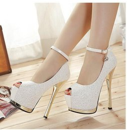 Wholesale Super High Heels 16 Cm - Super High Heels 16 cm high clubs in Europe and America single shoes waterproof computer sequins fine with diamond fish mouth shoes