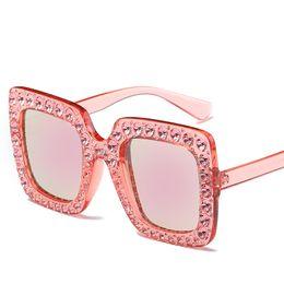 Wholesale Sun Glasses For Ladies - 2018 Sunglasses New Luxury Brand Designer Ladies Oversized Square Sunglasses Women Diamond Frame Mirror Sun Glasses For Female