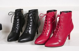 Wholesale Europ Style - Autumn Winter Women Boots Europ England Fashion Style Sexy Leather Women Shoes Red Pointed Toe Stiletto High Heels