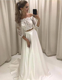 Wholesale Dress Trendy Tops - Trendy Two Pieces Lace Top A Line Wedding Dresses 2018 Off Shoulder 3 4 Sleeves Long Bridal Party Gowns