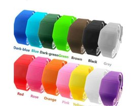 Wholesale Thinnest Rubber Sport Watch - 100pcs lot DHL shipping plastic rubber ultra-thin touch led sports watch electronic digital jelly candy Unisex Men women gift watches 1547