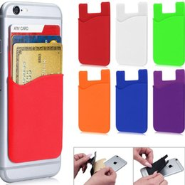 Wholesale Phone Covers Stickers - OEM print customer logo Silicone Wallet Credit Card Pocket Bag Card holder Slot Phone Back Cover Case Pouch With Adhesive Sticker