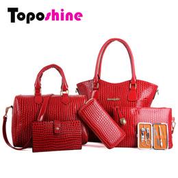 Wholesale Cheap Girls Handbags - Wholesale-2016 Vintage Women Bag Set Crocodile Handbag Girls Bags For Women Genuine Patent PU Leather Bags Lides Bolos Feminina Cheap Bags