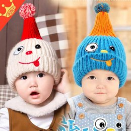 Wholesale Cute Girl 15 Age - 2016 Fashion New Korean Winter Thicked Children Wollen Hats Cartoon Rabbit Baby Girls Cute Caps Hats For Boys Fit 0-3 Age 15 Pcs lot
