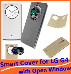 Wholesale New G4 - New Arrival Wake Sleep Wallet PU Leather Case Flip Smart Cover Skin Protector with Open Window for LG G4 in Retail Package High Quality
