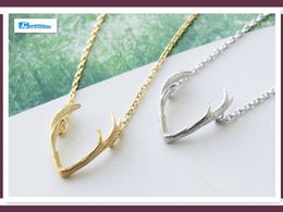 Wholesale Head Jewerly - Wholesale 10pcs Women Horn Antler Necklace Deer Head Necklaces & Pendants Cc Gothic Punk Stylish Boho Best Friend Gift Jewerly