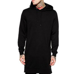 Wholesale Bingo Shirts - Wholesale-Bingo 2015 Free shipping men's sweatshirts with hoody side zip to hem design long sweat shirt men longline hoodies BG-B2265