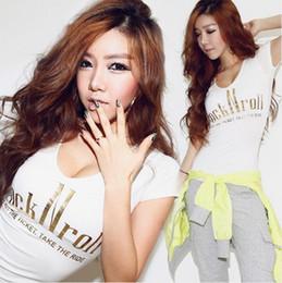 Hot New 2014 Summer Sexy Women T Shirt Envío rápido Carta de impresión O-cuello Slim Girl Tops marca moda mujer ropa T028-03 desde fabricantes