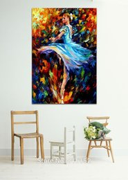 Wholesale Oil Spin - Elegant Spin Ballerina Palette knife Oil Picture Canvas Prints Modern Mural Art Painting for Home Hotel Cafe Wall Decor