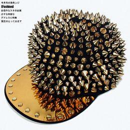 Wholesale Spiky Hats - Wholesale-Free shipping, WOMEN's MEN's baseball cap hat hip hop cap, Hedgehog Punk HIP-HOP Unisex Hat Gold Spikes Spiky Studded