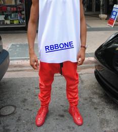 Wholesale Elastic Leather Pants Women - Wholesale-KANYE WEST LEATHER PANTS Joggers Men's 2015 New Arrival Man Women Mens Hiphop Hip Hop Swag Red Leather Overalls Pants Jogger