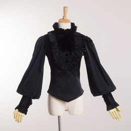 Wholesale Vintage Ruffled White Blouse - High Quality Vintage Victorian Gothic Black Blouse Lolita Style Romantic Shirt Tops Ruffles Reenactment for Women