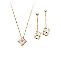 Wholesale wedding pearl diamond necklaces - Copper material inlay zircon jewelry Necklace Earrings Set Fashion pearl jewelry sets!New Arrival 18K Gold Plated Pearl Jewelry set 160192