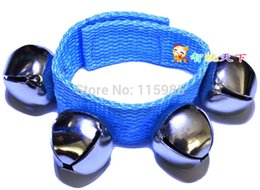 Wholesale Toy Learning Mobile - Wholesale-6pcs lot Newborn gift learning baby bell toys rattles Mobiles bell circle shakers with beads rings Baby hand bell wrist wrap