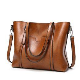 Wholesale Coffee Bucket - Women Casual Tote Genuine Leather Handbag Bag Fashion Vintage Large Shopping Bag Designer Crossbody Bags Big Shoulder Bag Female