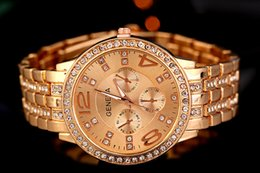 Wholesale Men Watches Solar - Luxury Created Diamond Geneva Watches Men Stainless Steel Fashion Designer Quartz Watch Luxe Gold silver rose gold