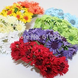 Wholesale Wedding Paper Sunflowers - Free Shipping 2cm head Multicolor handmade Mulberry Paper Daisy Flower artificial sunflowers(100pcs lot)