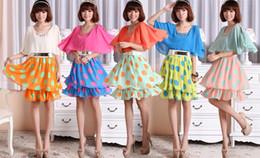 Wholesale Dotted Ladies Skirts - Summer Dresses New Fashion 2015 Women Polka Dot Chiffon Dress Princess Ladies Sexy Mini Ruffle Dress Pleated Skirts With Belt