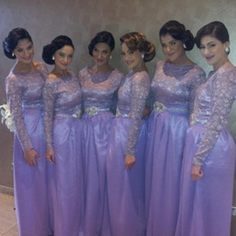 Wholesale Made Honour Dresses - Fashion Long Sleeves Lilac Bridesmaid Dress With Crystals Sash Floor Length Bridesmaid Gown Vestidos Maid Of Honour Gown Muslim