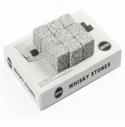 Wholesale Whisky Stones Retail - New 9pcs Set Ice Cube Whisky Stones Drinks Cooler Cubes Beer Rocks Granite Pouch Drink Cooling Ice Melts Bar Coolers With retail package