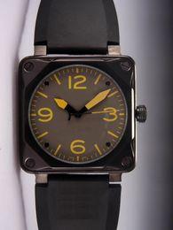 2019 спортивные наручные часы Лучший Новый Роскошный Дизайнер Мужчины Автоматический Механический Резиновый Ремешок Для Часов Швейцарский Черный PVD Нержавеющей Площади Мода Мужские Спортивные Наручные Часы скидка спортивные наручные часы