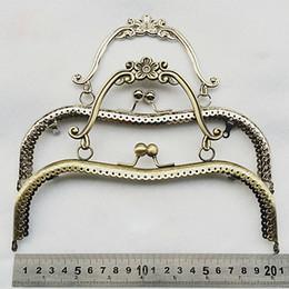 Wholesale Wholesale Clutch Purse Frames - 20.5cm vintage elegant women purse frame clutch bag clasp with handle DIY hardware accessories knurling mouth golden 3pcs lot