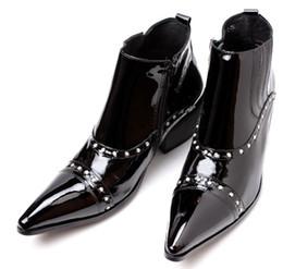 sapatos de pony homens Desconto Moda Couro Pantent Martin Man Botas Estilo Britânico Sapatos de Strass Botas de Toe Apontado Homem Vestido Ankle Boots Robusto Salto Chunky Pony