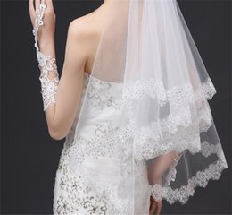 Wholesale Organza Veils - New White 3 layer Beaded Pure Organza Veils Romantic European Artificial Bridal Veils Wedding Veils Accessories Wholesale And Direct Manufac