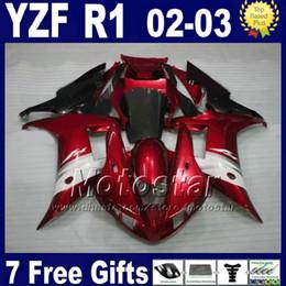 Canada Personnalisé rouge foncé kit pour 2002 2003 YAMAHA R1 kit de carénage injection moulé 02 03 yzf r1 carénages en plastique kits de pièces + 7 cadeaux cheap dark custom parts Offre