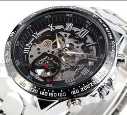 Wholesale Winner Automatic Full Black - 2017 New Winner Chronograph Clock Automatic Stainless Men Full Steel Skeleton Watch Men Mechanical Mens Watch Wristwatch For Men