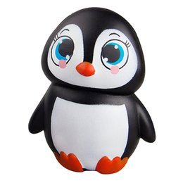 Wholesale Cute Penguin Cartoons - 2017 New Arrival 11CM Jumbo Animal Penguin Kawaii Cute Cartoon Squishy Slow Rising Phone Straps Soft Bread Cake kid Toy Gift