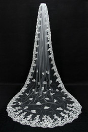 Wholesale Long Veils For Sale - 2016 Luxury One Layer Lace Long Bridal Veils with Lace Appliqued Lace Bridal Veils White Ivory Veils for Wedding Free Shipping Hot Sale