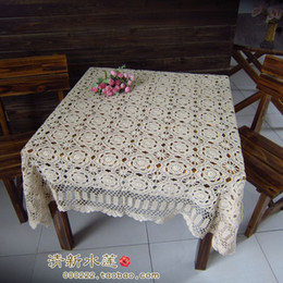 Wholesale hand crochet tablecloths - Free Shipping Hot selling 100% cotton hand knitting Crochet tablecloth 140x140cm Table cover table cloth