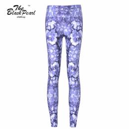Wholesale Free Fashion Sketches - Free shipping New 2015 Women Sport Pants Women Trousers Fashion Blue flowers Sketch Pant Capris Cute sportswear Fitness