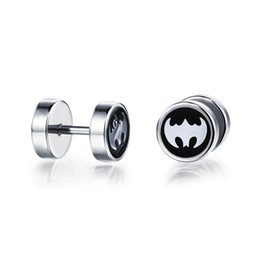 Pendientes de batman online-Mens Guys Aretes de acero inoxidable Batman Symbol Pattern Screw Tunnel Back 1pair
