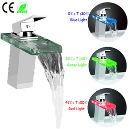 Wholesale Modern Glass Taps - 1 pc drop shipping Polished Chrome Glass Color Changing LED Waterfall Kitchen Bathroom Modern Faucet Mixers Taps Free Shipping
