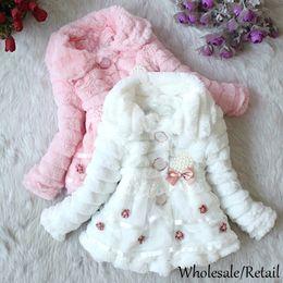 Wholesale 5t Warm Winter Dresses - Faux Fur Coat Girls Autumn Winter Children Outerwear Dress Style Jacket Warm Outerwear Child Fleece Thickening Kids Clothing Jackets 18908