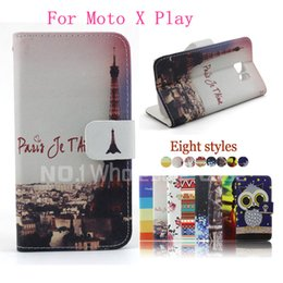Wholesale Two Phones One Case - 2015 new Leather Flip Case with fashion For Moto X Play wallet case line design stand phone case for one plus two