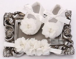 Wholesale Infant Girls Shabby Flowers - 6%off!2015hot sale! Newborn Baby Girl Shoes Headbands Set,Pearl Shoes Baby,Sapato Bebe,Infant Baptism Shoe,Shabby Flower Baby Moccasins,2set
