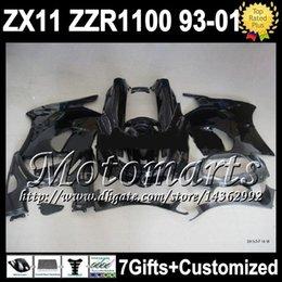 Wholesale 93 Zx 11 Fairings - ALL Black 93-01 For KAWASAKI NINJA ZX11 ZZR1100 ZX-11 ALL Glossy black 3M61 ZZR 1100 11 ZX11R 1993 1995 1996 1998 1999 2000 2001 Fairing